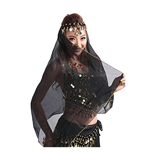 Best Dance Damen-Stirnband für Bauchtanz mit Gesichtsschleier, Kopfbedeckung aus Chiffon mit Münzen, Schwarz
