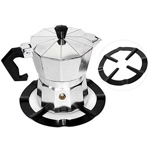 Estante para cafetera, estante para cafetera Moka de hierro inoxidable negro Quemadores de estufa redonda Estante de soporte Herramientas de cocina: disfrute de su vida en cualquier momento