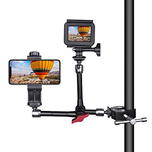 Double-Head DSLR Camera Magic Arm Articulating Israeli Friction Arm Video Rig Camera Clamp Mount Holder Compatible for Sony Canon Nikon GoPro Action Camera+ Smartphone+LED/Flash Light/LCD Monitor