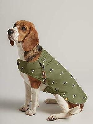 Rosewood Joules Khaki Green Bee Print Water Resistant Dog Coat, Khaki Green, Small