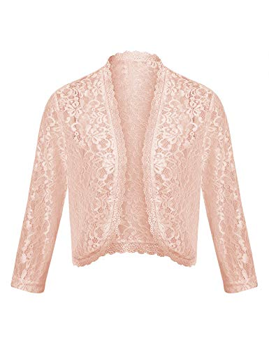 Dealwell Ladies Lace Shrug Sheer Cropped Cardigan Jacket Crochet 3 4 Sleeves Open Boleros for Dress (Nude, L)