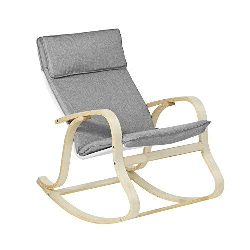 SoBuy FST15-DG, Comfortable Relax Rocking Chair, Lounge Chair Relax Chair with Cotton Fabric Cushion