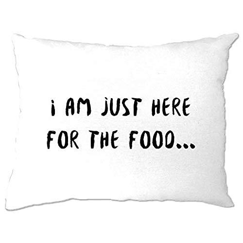 Odeletqweenry - Funda de almohada para la habitación con texto en inglés 'I am just here for the food', deliciosa y sabrosa fiesta, antisocial, para comer amistad, regalo divertido, para decoración del hogar de 12 x 16 pulgadas