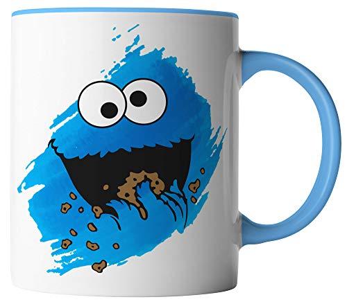 vanVerden Tasse - Cookie Monster Keks-Monster - Kinder Comic TV Serie Karneval Fasching - beidseitig Bedruckt - Geschenk Idee Kaffeetassen Spruch, Tassenfarbe:Weiß/Blau