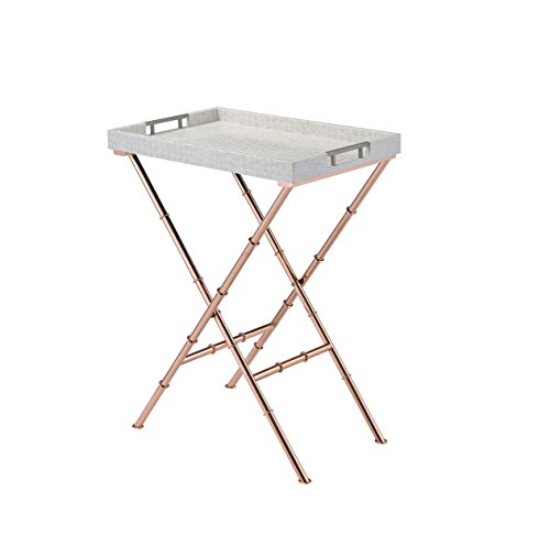 ComfortScape Portable Snack Serving Tray Table, Ivory Rose Gold