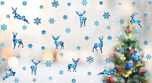 KAIRNE Blau Schneeflocke Aufkleber | Weihnacht Elch Fenster aufkleber,Schneeflocken Rentier Weihnachten Fensterbilder,Abnehmbare Weihnachts Deco Fenstersticker für Türen Schaufenster Glas Fensterfolie