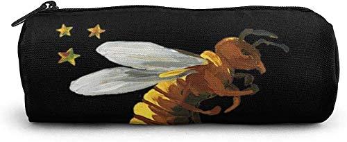 Sterne und Bienen Zylinder Federmäppchen Stifthalter Kosmetiktaschen Make-up Taschen Geldbörse mit Reißverschluss