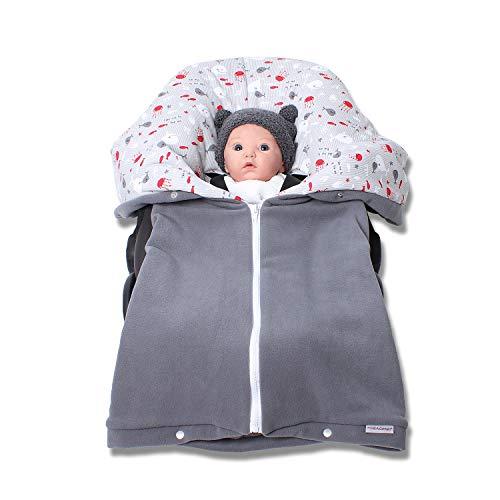 Autositzdecke, Babyschalendecke, Baby Fußsack, Kindersitzdecke, Buggy Decke von HOBEA-Germany im Design: grau mit Meerestieren