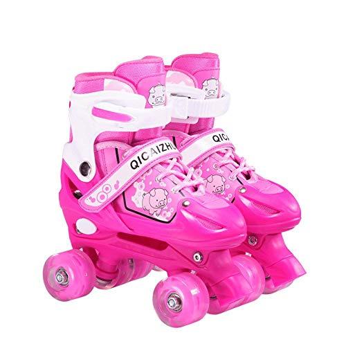 BTYKJ Zweireihige Schlittschuhe, Rollschuhe, Vierradschlittschuhe, Verstellbarer Kinderanzug, Flash Small (für Normale Schuhgrößen 26-32) Pig Pink Zweireihige Schlittschuhe