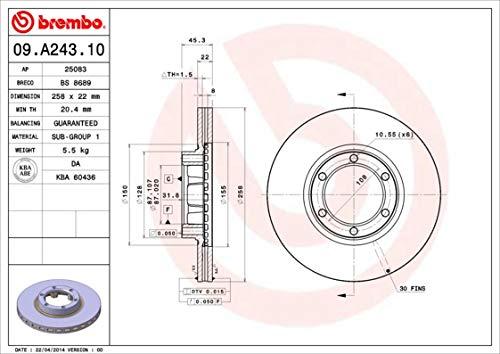 Preisvergleich Produktbild Bremsscheibe - Brembo 09.A243.10