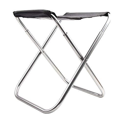 Fliyeong Ultralight Tragbarer Klappstuhl Camping Stuhl Aluminiumlegierung Faltbarer Hocker Schwarzer Sitz für Outdoor Angeln Wandern Reisen
