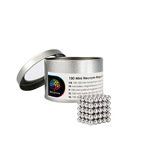 OfficeTree 100 Bolas Magneticas 5mm - Bolitas Magneticas 5mm - Bolas de Iman extra Fuerte para Pizarra Magnética Pizarra Frigorífico