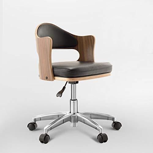 HUOQILIN eenvoudige gebogen houten bureaustoel kan worden verhoogd en verlaagd leer draaibare stoel vrije tijd onderhandelingen vergadering stoel