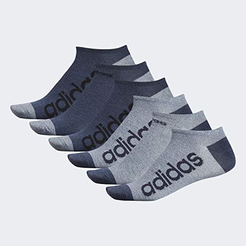 adidas Men's Superlite Linear No Show Socks (6-Pair), Ash Silver - Tech Ink Grey Marl/Legend Ink Blue - Tech, Large, (Shoe Size 6-12)