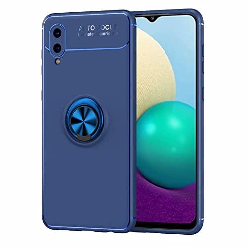 Jtailhne Compatible con Cover Samsung Galaxy J5 Prime, 360 Girevole Regolabile Ring Custodia Adatto a Supporto Magnetico per Auto, TPU Antiurto Kickstand Case Blu & 2X Vetro Temperato