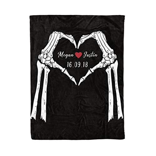 Personalized Couple Skull Heart Love Fleece Blanket Best Custom Couple Gift for Mother's Day Wedding Anniversary Customize Fleece, Sherpa Blanket for Mom for Dad