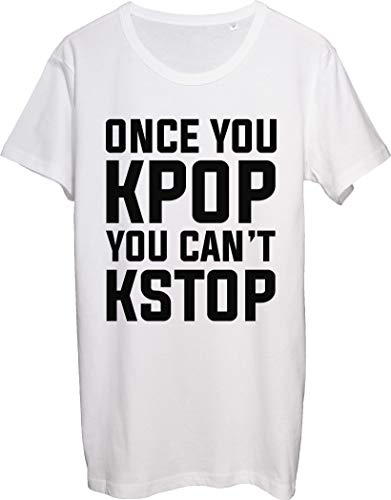 Once You Kpop You Can't Stop Best Music Style in The World Men's T-Shirt bnft Large White