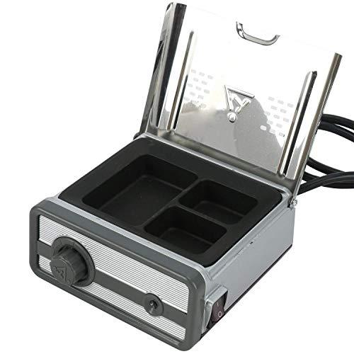 Calentador de cera analógico de equipo de laboratorio dental, recipiente de inmersión análogo de calentamiento rápido de cera de 3 pozos de metal