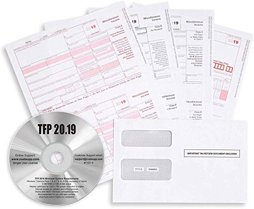 Complete Laser 1099 Misc Tax Form and 1096 - Kit for 50 Vendors ~5-Part~ All 1099 Forms with 50 Self-Seal Envelopes Plus TFP Software in Value Pack | 1099 Misc 2019