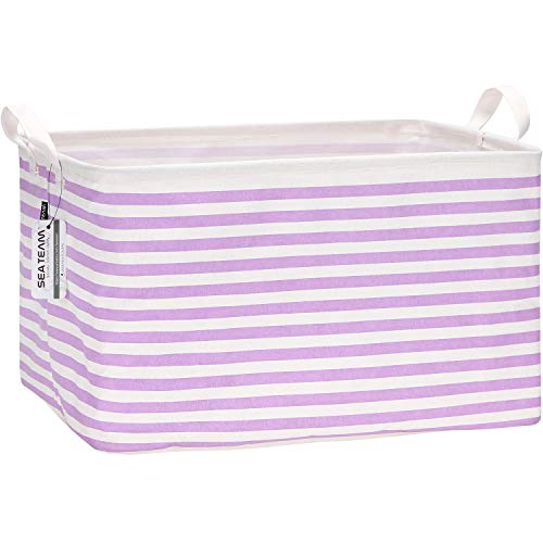 Sea Team Collapsible Canvas Fabric Storage Basket with Handles, Rectangle Waterproof Storage Bin, Box, Cube, Foldable Shelf Basket, Closet Organizer, 16.5 x 11.8 x 9.8 Inches, Purple Stripe