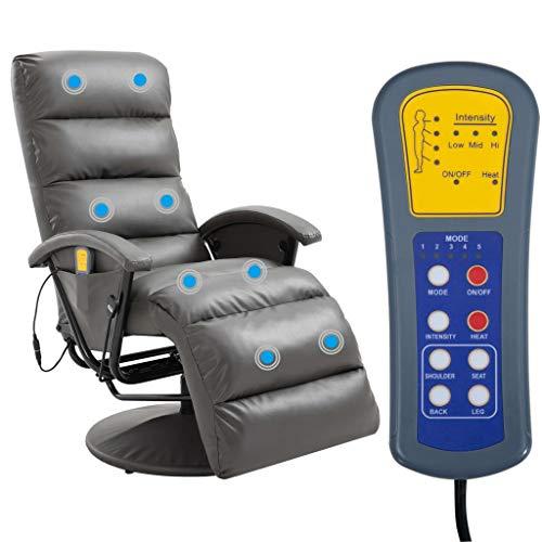 Tidyard TV Massagesessel mit Wärmefunktion Massage Elektrisch Fernsehsessel Relaxsessel Sessel Relaxliege Liegesessel Ruhesessel Grau Kunstleder