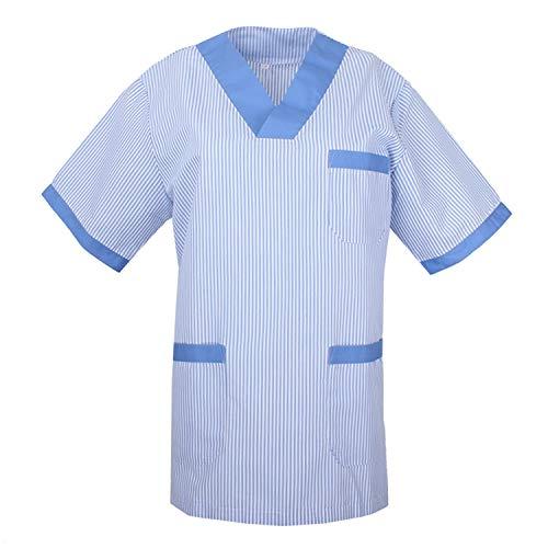 MISEMIYA - Casaca Mangas Cortas Uniforme Laboral CLINICA Hospital Limpieza Veterinaria Dentista ESTÉTICA Médico Enfermería - Ref:T817 - L, Celeste