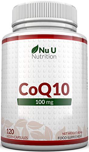 Coenzyme Q10 100mg | 120 CoQ10 Gélules | Compléments alimentaires de Nu U Nutrition