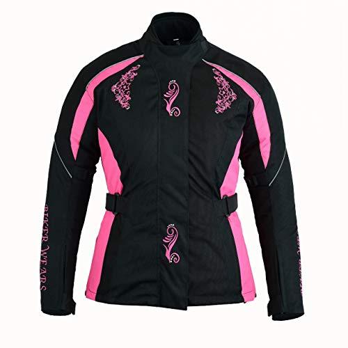 Dames Dames Dames Motorfiets Scooter Bike Moto Motorcross Waterdichte Textiel Roze Veiligheid Beschermende Gepantserde Gewatteerde Jas