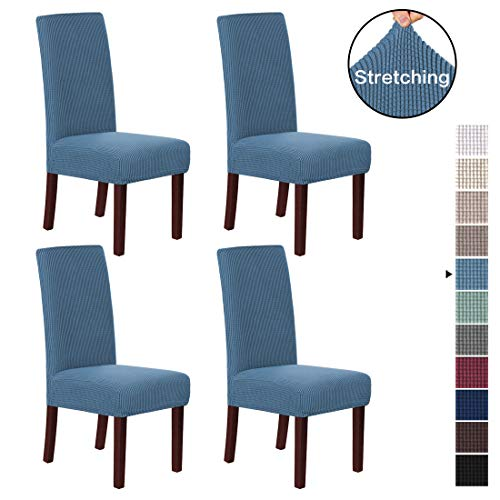 H.VERSAILTEX Stretch Dining Chair Covers Chair Covers for Dining Room Set of 4 Parson Chair Covers Slipcovers Chair Protectors Covers Dining, Feature Textured Checked Jacquard Fabric, Dusty Blue