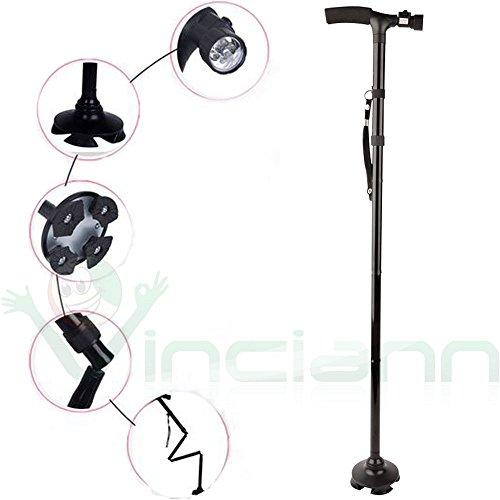 Bastone passeggio luce torcia LED altezza regolabile pieghevole anziani trekking