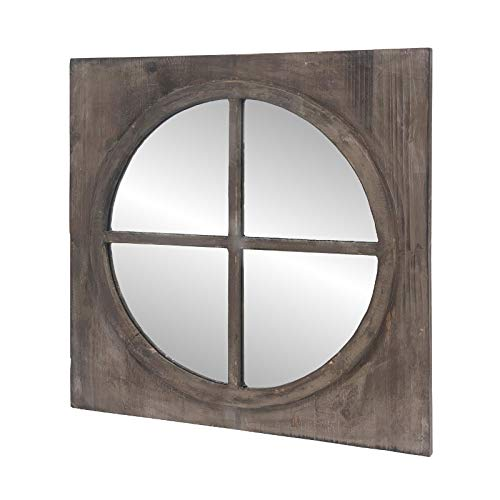 chemin_de_campagne Miroir Fenêtre Carré Glace Ronde Œil de Bœuf Bois 55 cm x 55 cm