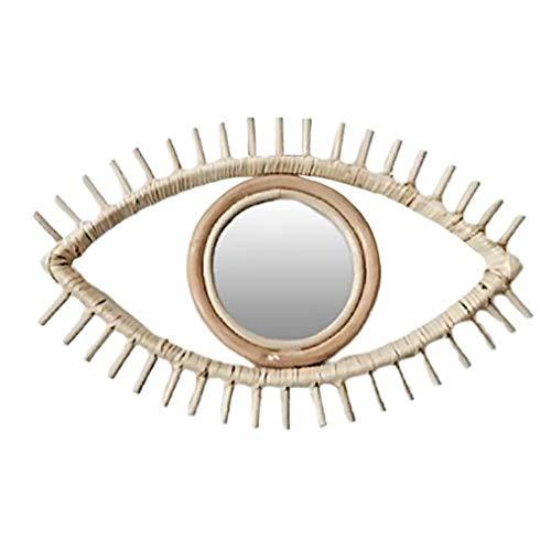 NaisiCore Mirror Frame, Big Eye Arte Rattan Specchi Cornice, casa Ciondolo Appeso Decorazione della Parete per Soggiorno Camera da Letto