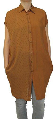 Wiya 15310 dames tunika, zomer longshirt, blouse-jurk, oversize, viscose, beige, bruin, S/M, M/L