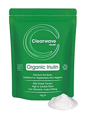 Organic Inulin Powder - 1kg High Grade Prebiotic Fibre - Fructo Oligo Saccharide (FOS) - Certified by The Soil Association