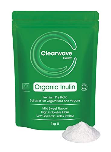 Organic Inulin Powder - 1kg High Grade Prebiotic Fibre, Fructo Oligo Saccharide (FOS), Certified by The Soil Association, Clearwave Health