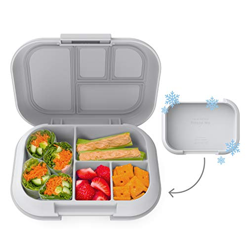 Bentgo Kids Chill Lunch Box - Bento-Style Lunch Solution with 4 Compartments and Removable Ice Pack for Meals and Snacks On-the-Go - Leak-Proof, Dishwasher Safe, BPA-Free (Gray)