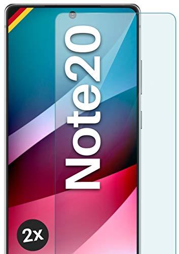 moex Panzerglas kompatibel mit Samsung Note20 / Note20 5G - Schutzfolie aus Glas, bruchsichere Displayschutz Folie, Crystal Clear Panzerglasfolie, 2X Stück