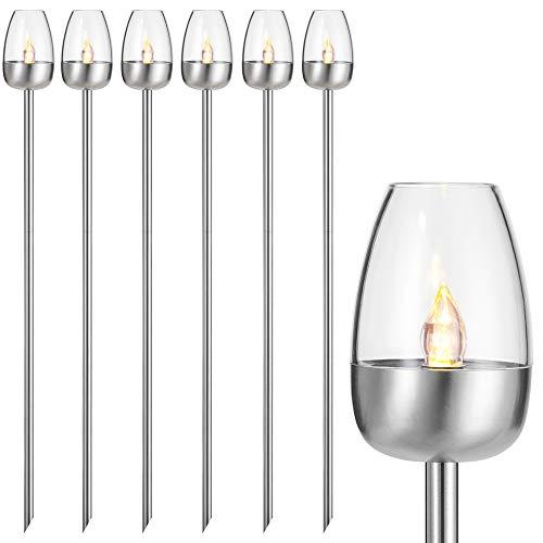 Deuba Lampe solaire de jardin en acier inoxydable effet flamme, 6er Set - 112cm