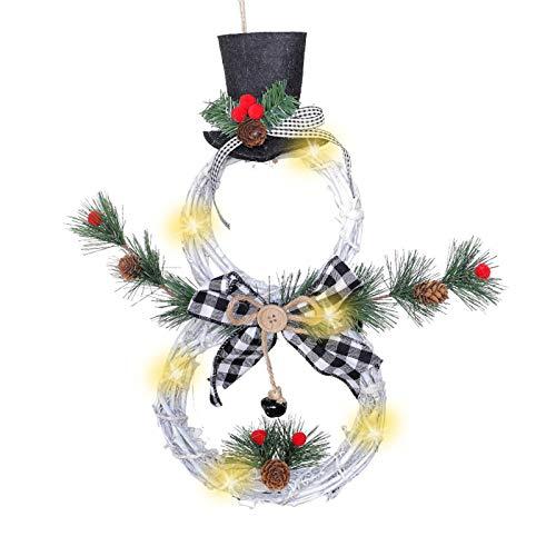 Xiaoyao24 Corona de Navidad Garland puerta de la ventana colgar de la pared decoración del ornamento de la rota con arco conos del pino bayas rojas y 10 luces transparentes, 2021 Nuevos