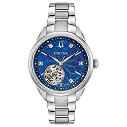 Blue Mother Of Pearl 5 Diamonds Stainless Steel Bracelet Watch