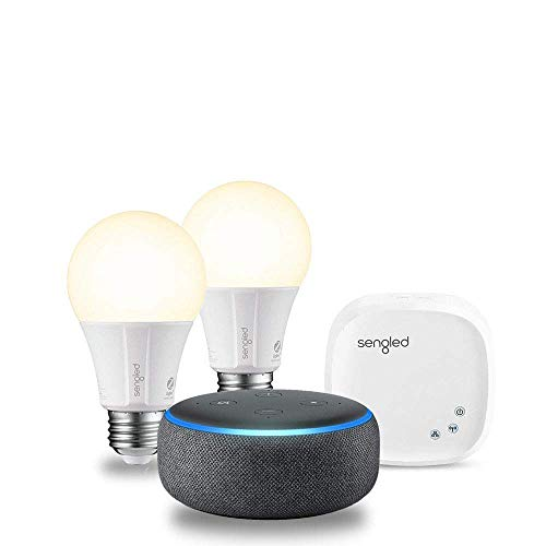 Echo Dot (3rd Generation) - Charcoal with 2 Smart Bulb Kit by Sengled
