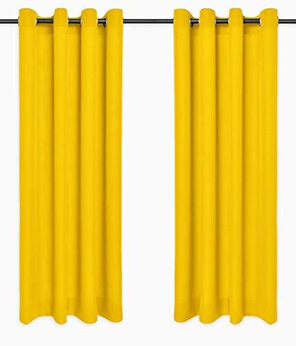 Rollmayer Vorhänge Schal mit Ösen Kollektion Vivid Blickdicht Uni einfarbig Gardinen Schal (Gelb 5, 135x150 cm - BxH)
