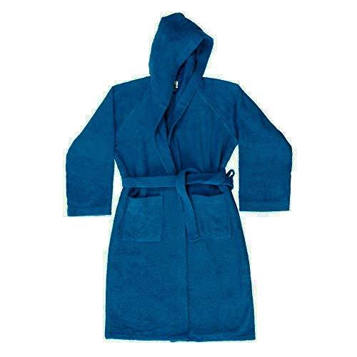 Zucchi Journey Peignoir pour homme et femme avec capuche Taille S – M – L – XL Micro-éponge 100 % éponge de pur coton 260 g/m² (Cobalto, S – 42/44)