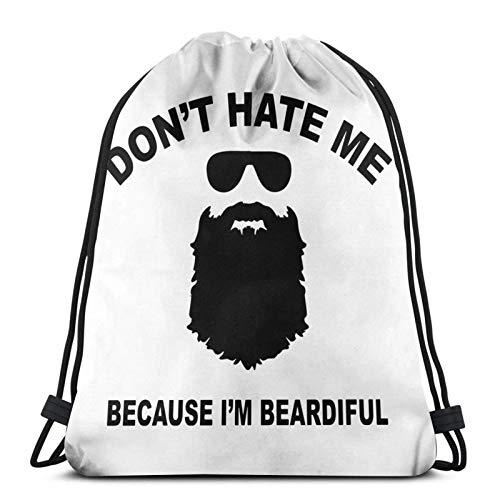 Don't Hate Me Because I'm Beardiful Bolsas de cordón ligeras para gimnasio, deporte, bapa para viajes, playa, yoga