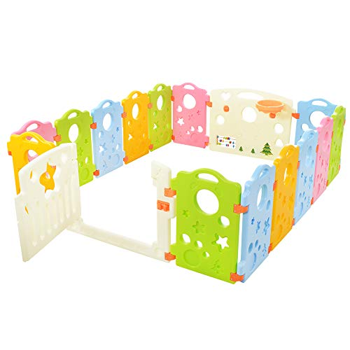 Baby Playpen Activity Area Play Yard with Multicolor Indoor Safety Gates 16Panel Portable Play Pens for Babies and Toddlers