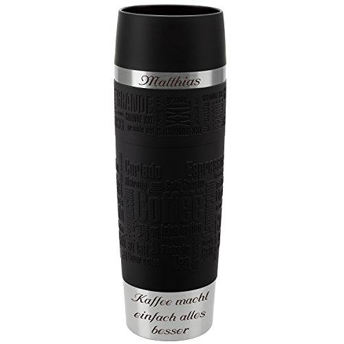 Emsa Thermobecher Travel Mug Grande Schwarz 500 ml mit persönlicher Rund-Gravur gelasert Edelstahl Soft-Touch-Manschette Quick Express Verschluss