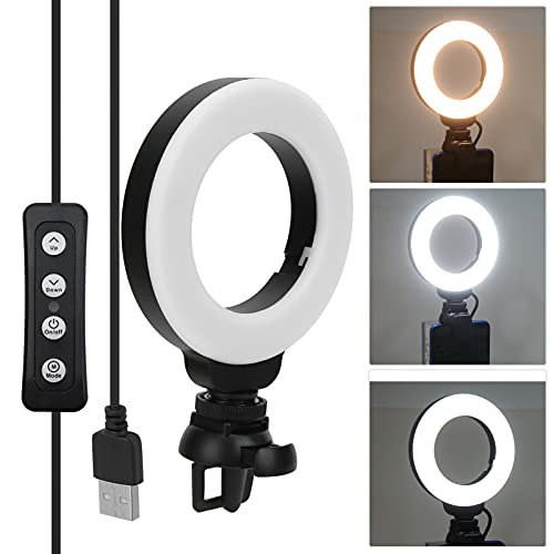 Ligero, 4 Pulgadas LED Negro Luz Regulable Brillo de Carga USB Ajustable para conferencias para enseñanza para transmisión en Vivo para educación en línea