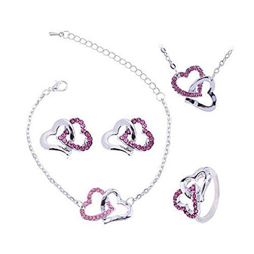 GYJUN Double coeur collier boucle d'oreille Bracelet bague bijoux des femmes set (couleurs assorties) , 2