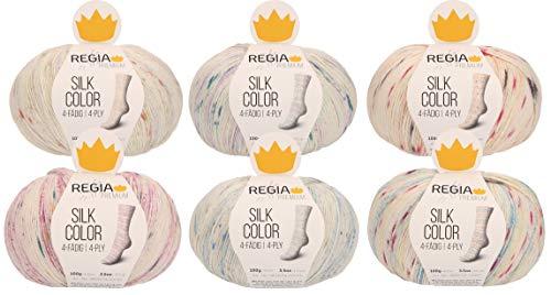 theofeel 6X 100g Sockenwolle Paket Regia Premium Silk Color #2, 600g Sockenwolle mit Seide mit Farbverlauf zum Stricken und Häkeln