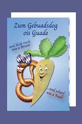 Bayern Geburtstag Gebuadsdog Karte Grußkarte Brezn Radi 16x11cm Plus 3 Sticker